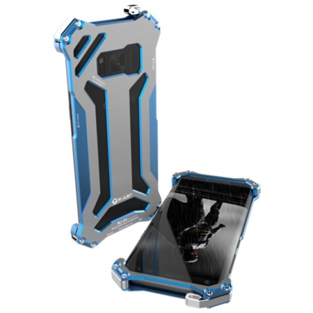 R-JUST Gundam Series Luxury ShockProof Anti-shock Metal Aluminum Frame Phone Case Shell Cover for Samsung Galaxy S8 - Blue