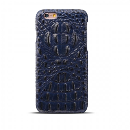 Crocodile Head Real Cowhide Leather Back Case Cover for iPhone 7 4.7 inch - Blue