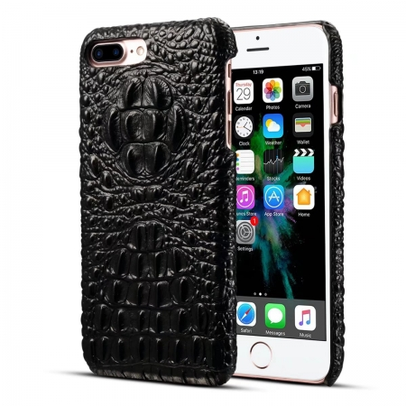 Luxury Crocodile Head Cowhide Leather Back Case Cover for iPhone 7 Plus 5.5 inch - Black