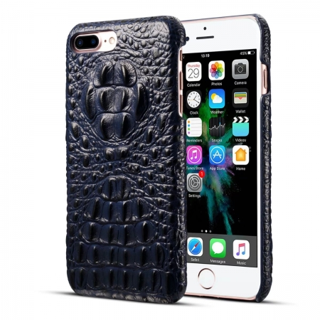 Luxury Crocodile Head Cowhide Leather Back Case Cover for iPhone 7 Plus 5.5 inch - Blue