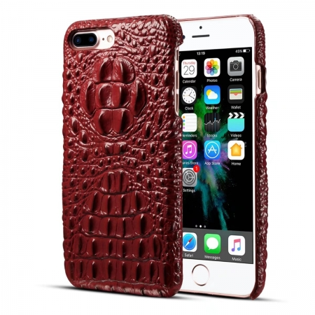 Luxury Crocodile Head Cowhide Leather Back Case Cover for iPhone 7 Plus 5.5 inch - Red