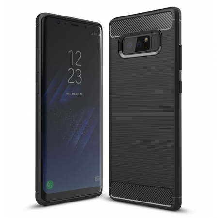 Carbon Fiber TPU Case For Samsung Galaxy Note 8 Silicone Phone Shockproof Armor Cover - Black
