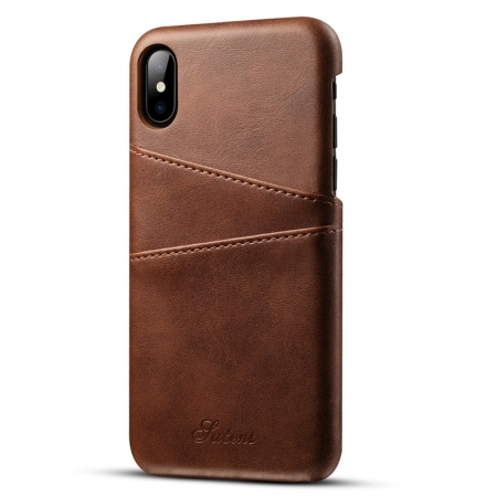 Caseswill Case for iPhone X Back Wallet Card Slot Leather Cover - Coffee