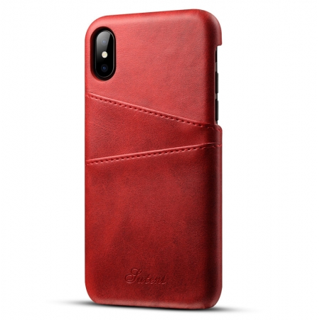 Caseswill Case for iPhone X Back Wallet Card Slot Leather Cover - Red