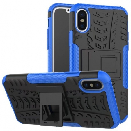 Hybrid PC + TPU Stand Back Cover Case For iPhone X - Blue