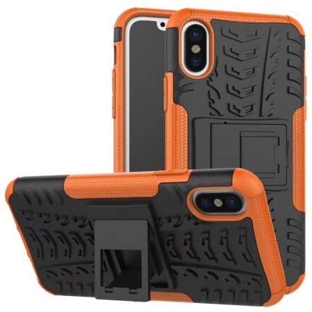 Hybrid PC + TPU Stand Back Cover Case For iPhone X - Orange