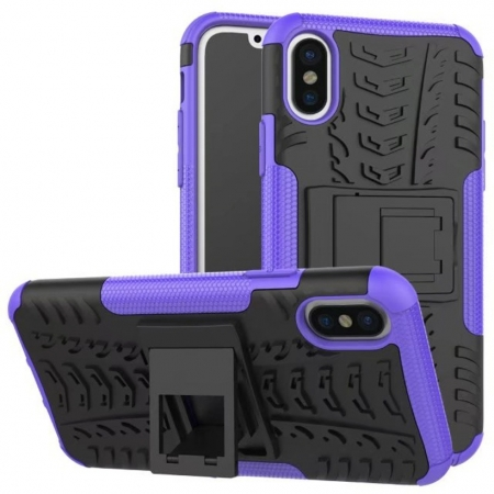 Hybrid PC + TPU Stand Back Cover Case For iPhone X - Purple