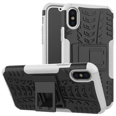 Hybrid PC + TPU Stand Back Cover Case For iPhone X - White