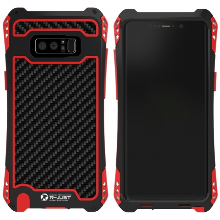R-Just Aluminum Metal Carbon Fiber Shockproof Case for Samsung Galaxy Note 8 - Black&Red