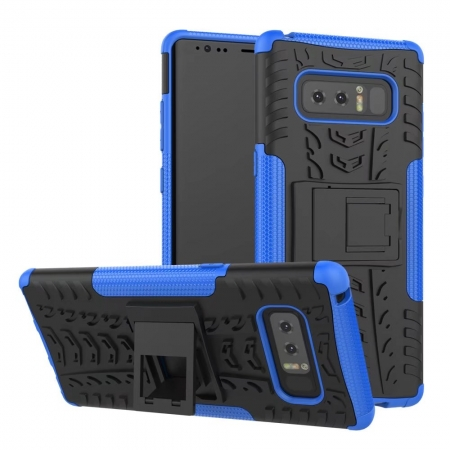 Shockproof Hybrid Dual Layer Protective Stand Case for Samsung Galaxy Note 8 - Blue