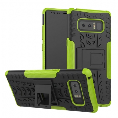 Shockproof Hybrid Dual Layer Protective Stand Case for Samsung Galaxy Note 8 - Green