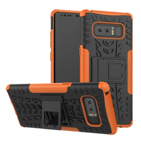 Shockproof Hybrid Dual Layer Protective Stand Case for Samsung Galaxy Note 8 - Orange