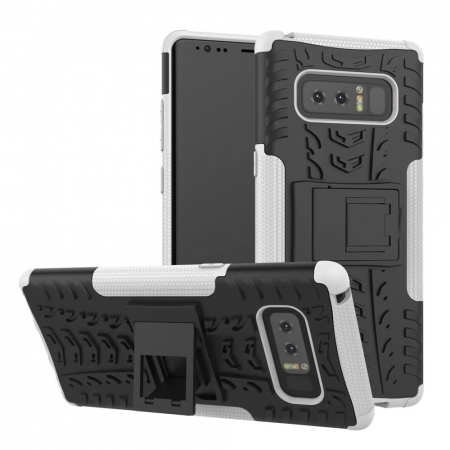Shockproof Hybrid Dual Layer Protective Stand Case for Samsung Galaxy Note 8 - White