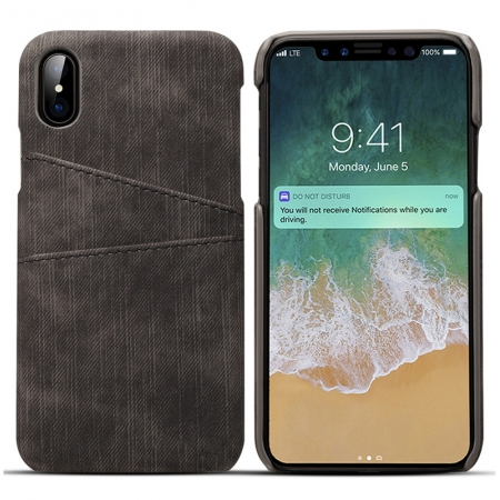 Leather Phone Case with Credit Card Slot Back Cover Wallet For iPhone X - Black