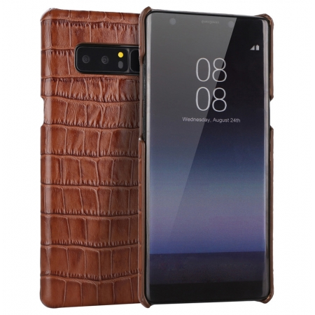 Luxury Crocodile Real Cow Genuine Leather Case Cover For Samsung Galaxy Note 8 - Brown