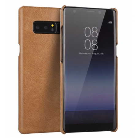 Ultra Slim Genuine Cow Leather Back Cover Shell Case For Samsung Galaxy Note 8 - Brown