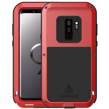 Shockproof Dust / Dust / Snowproof Aluminum Metal + Silicone Case For Samsung Galaxy S9 - Red