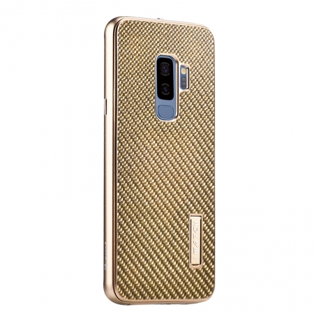 Aluminum Bumper Carbon Fiber Case With Stand For Samsung Galaxy S9 Plus - Gold