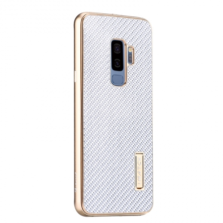Aluminum Bumper Carbon Fiber Case With Stand For Samsung Galaxy S9 Plus - Gold&Silver