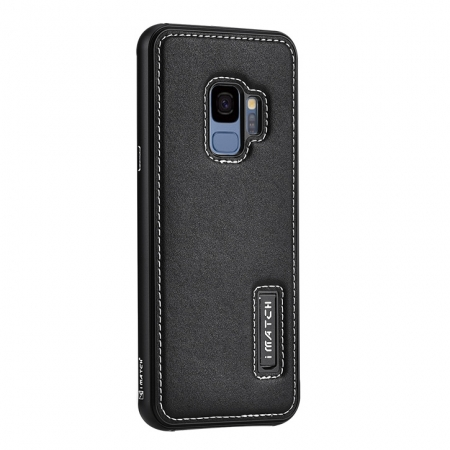 Aluminum Bumper Genuine Leather Back Cover For Samsung Galaxy S9 - Black