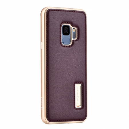 Aluminum Bumper Genuine Leather Back Cover For Samsung Galaxy S9 - Gold&Wine Red