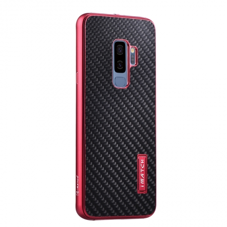 Aluminum Metal Bumper Carbon Fiber Cover Stand Case For Samsung Galaxy S9 - Red&Black