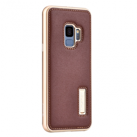 Deluxe Aluminum Metal and Genuine Leather Back Case For Samsung Galaxy S9 Plus - Gold&Brown