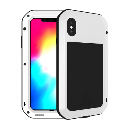For iPhone XS Max Metal Bumper Gorilla Glass Waterproof Case Cover - White