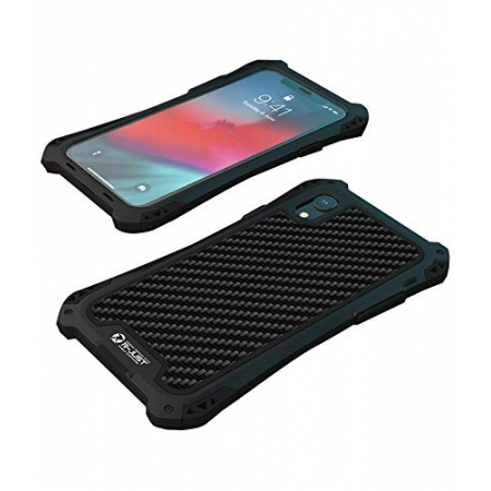 For iPhoneX XR XS XS Max Shockproof Hybrid Armor Aluminum Metal Carbon Fiber Case Cover - Black