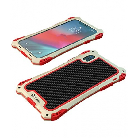 For iPhoneX XR XS XS Max Shockproof Hybrid Armor Aluminum Metal Carbon Fiber Case Cover - Gold Red