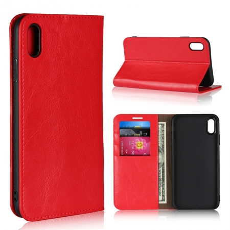 Crazy Horse Pattern Genuine Leather Case for iPhone XS Max - Red