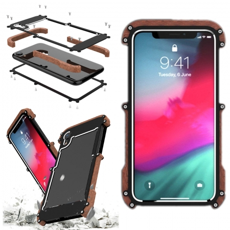 For iPhone XR XS Max Shockproof Metal Aluminum Wood Bumper Armor Case Cover