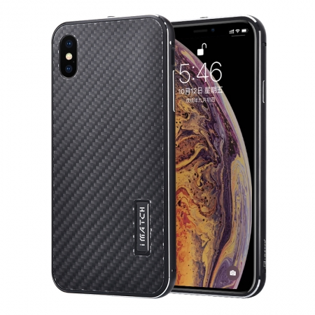Aluminum Bumper Carbon Fiber Stand Case For iPhone XS Max - Black