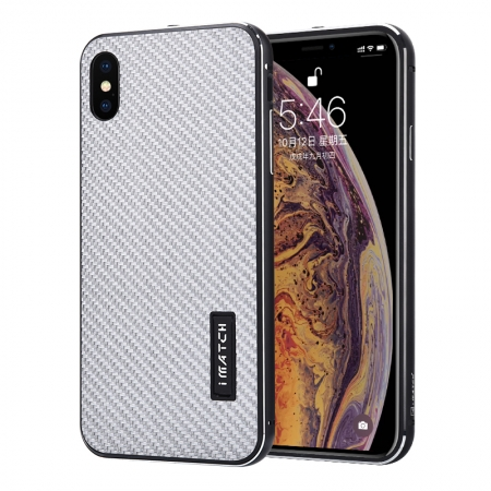 Aluminum Bumper Carbon Fiber Stand Case For iPhone XS Max - Black&Silver
