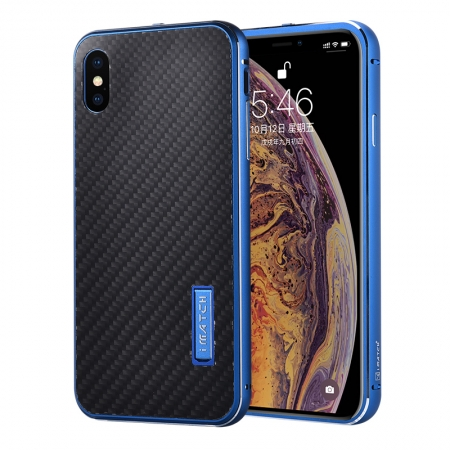 Aluminum Bumper Carbon Fiber Stand Case For iPhone XS Max - Blue&Black