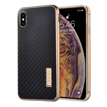 Aluminum Bumper Carbon Fiber Stand Case For iPhone XS Max - Gold&Black