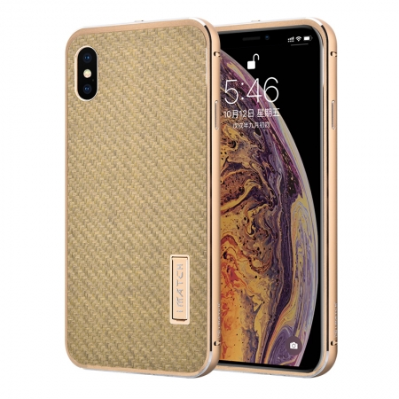 Aluminum Bumper Carbon Fiber Stand Case For iPhone XS Max - Gold