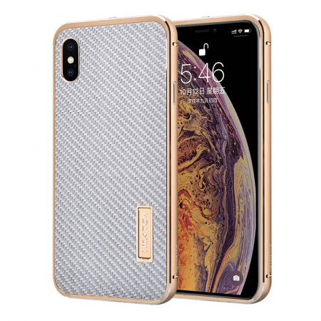 Aluminum Bumper Carbon Fiber Stand Case For iPhone XS Max - Gold&Silver
