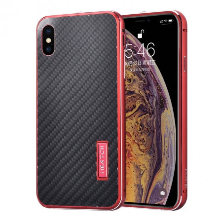 Aluminum Bumper Carbon Fiber Stand Case For iPhone XS Max - Red&Black