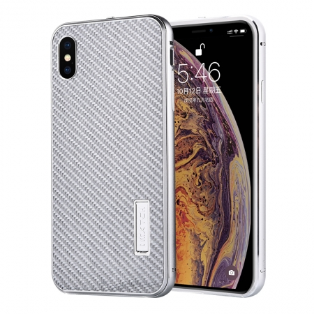 Aluminum Bumper Carbon Fiber Stand Case For iPhone XS Max - Silver