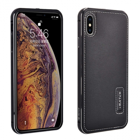 Aluminum Metal Bumper Genuine Leather Case Cover For iPhone XS Max - Black