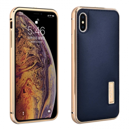 Aluminum Metal Bumper Genuine Leather Case Cover For iPhone XS Max - Gold&Dark Blue