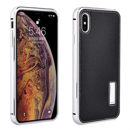 Aluminum Metal Bumper Genuine Leather Case Cover For iPhone XS Max - Silver&Black