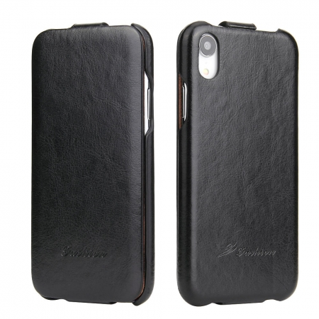 Crazy Horse Vertical Flip Leather Case For iPhone XR - Black