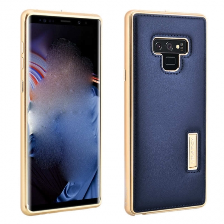 Luxury Genuine Leather+Aluminum Back Case Cover For Samsung Galaxy Note 9 - Gold&Dark Blue
