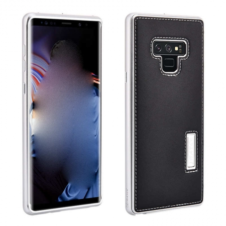 Luxury Genuine Leather+Aluminum Back Case Cover For Samsung Galaxy Note 9 - Silver&Black