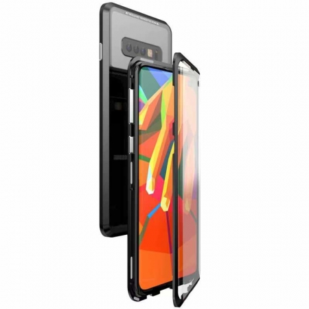 For Samsung Galaxy S10 Plus Aluminum Metal Tempered Glass Full Case  - Black