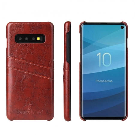 Wax Oil Leather Card Slot Case Cover For Samsung Galaxy S10e - Brown