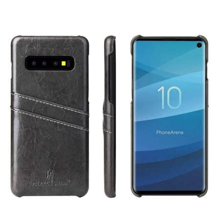 Wax Oil Leather Card Slot Case Cover For Samsung Galaxy S10e - Dark Grey