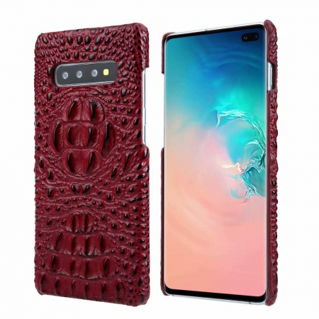 Luxury Crocodile Head Cowhide Leather Case Cover for Samsung Galaxy S10 - Red
